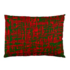 Green And Red Pattern Pillow Case by Valentinaart