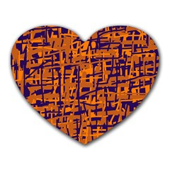 Blue And Orange Decorative Pattern Heart Mousepads by Valentinaart