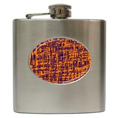 Orange and blue pattern Hip Flask (6 oz) by Valentinaart