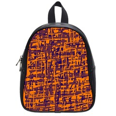 Orange And Blue Pattern School Bags (small)  by Valentinaart