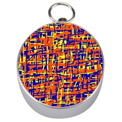 Orange, Blue And Yellow Pattern Silver Compasses by Valentinaart