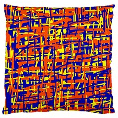Orange, Blue And Yellow Pattern Large Flano Cushion Case (two Sides) by Valentinaart