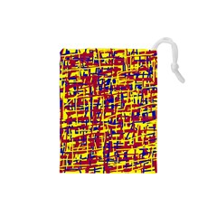 Red, Yellow And Blue Pattern Drawstring Pouches (small)  by Valentinaart