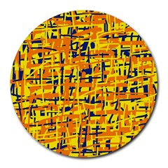Yellow, Orange And Blue Pattern Round Mousepads by Valentinaart