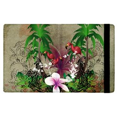 Wonderful Tropical Design With Palm And Flamingo Apple iPad 2 Flip Case by FantasyWorld7