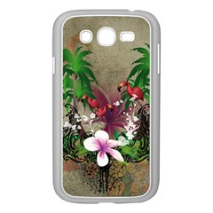 Wonderful Tropical Design With Palm And Flamingo Samsung Galaxy Grand Duos I9082 Case (white) by FantasyWorld7