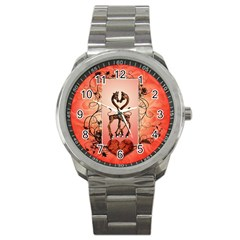 Cute Giraffe In Love With Heart And Floral Elements Sport Metal Watch by FantasyWorld7