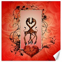 Cute Giraffe In Love With Heart And Floral Elements Canvas 20  X 20   by FantasyWorld7