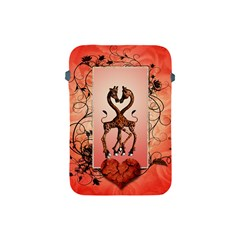 Cute Giraffe In Love With Heart And Floral Elements Apple iPad Mini Protective Soft Cases by FantasyWorld7