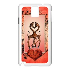 Cute Giraffe In Love With Heart And Floral Elements Samsung Galaxy Note 3 N9005 Case (white) by FantasyWorld7