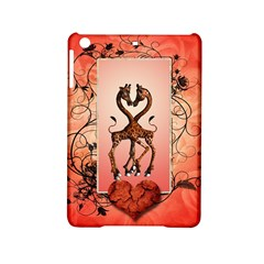 Cute Giraffe In Love With Heart And Floral Elements Ipad Mini 2 Hardshell Cases by FantasyWorld7
