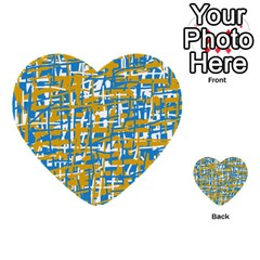 Blue And Yellow Elegant Pattern Multi Purpose Cards (heart)  by Valentinaart