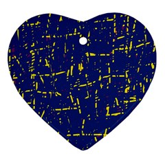 Deep blue and yellow pattern Ornament (Heart)  by Valentinaart