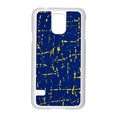 Deep blue and yellow pattern Samsung Galaxy S5 Case (White) by Valentinaart