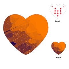 Orange And Blue Artistic Pattern Playing Cards (heart)  by Valentinaart