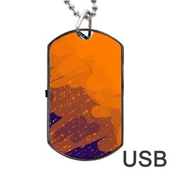 Orange and blue artistic pattern Dog Tag USB Flash (One Side) by Valentinaart