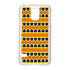 Hearts And Rhombus Pattern                                                                                         			samsung Galaxy S5 Case (white) by LalyLauraFLM
