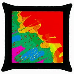 Colorful Abstract Design Throw Pillow Case (black) by Valentinaart