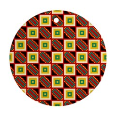 Squares And Rectangles Pattern                                                                                          ornament (round) by LalyLauraFLM