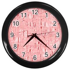 Elegant pink pattern Wall Clocks (Black) by Valentinaart