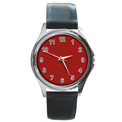 Red Pattern Round Metal Watch by Valentinaart