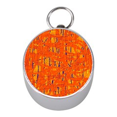 Orange Pattern Mini Silver Compasses by Valentinaart
