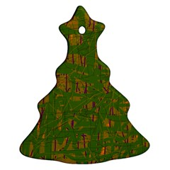 Green pattern Christmas Tree Ornament (2 Sides) by Valentinaart