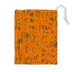 Orange pattern Drawstring Pouches (Extra Large) by Valentinaart