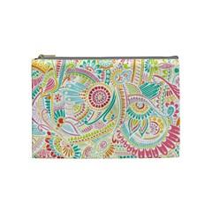 Hippie Flowers Pattern, Pink Blue Green, Zz0101 Cosmetic Bag (Medium)  by Zandiepants