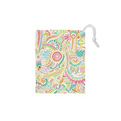 Hippie Flowers Pattern, Pink Blue Green, Zz0101 Drawstring Pouches (XS)  by Zandiepants