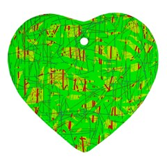 Neon Green Pattern Heart Ornament (2 Sides) by Valentinaart