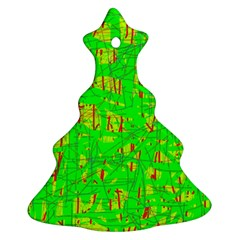 Neon green pattern Christmas Tree Ornament (2 Sides)