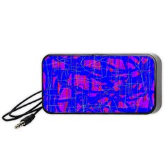 Blue pattern Portable Speaker (Black)  by Valentinaart
