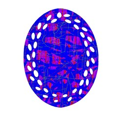 Blue Pattern Ornament (oval Filigree)  by Valentinaart