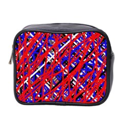 Red And Blue Pattern Mini Toiletries Bag 2 Side by Valentinaart