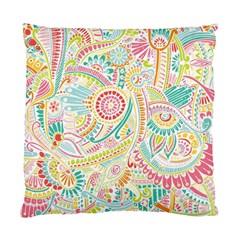 Hippie Flowers Pattern, Pink Blue Green, Zz0101 Standard Cushion Case (two Sides) by Zandiepants