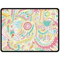 Hippie Flowers Pattern, Pink Blue Green, Zz0101 Fleece Blanket (large) by Zandiepants