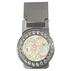 Hippie Flowers Pattern, Pink Blue Green, Zz0101 Money Clip (cz) by Zandiepants