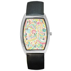 Hippie Flowers Pattern, Pink Blue Green, Zz0101 Barrel Style Metal Watch by Zandiepants