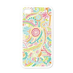 Hippie Flowers Pattern, Pink Blue Green, Zz0101 Apple Iphone 4 Case (white) by Zandiepants