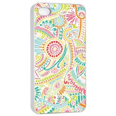 Hippie Flowers Pattern, Pink Blue Green, Zz0101 Apple Iphone 4/4s Seamless Case (white) by Zandiepants