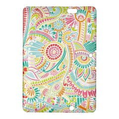 Hippie Flowers Pattern, Pink Blue Green, Zz0101 Kindle Fire Hdx 8 9  Hardshell Case by Zandiepants