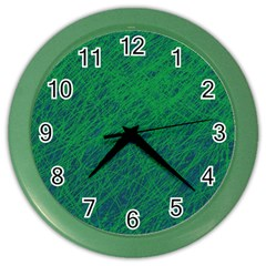 Deep green pattern Color Wall Clocks by Valentinaart