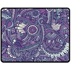 Purple Hippie Flowers Pattern, Zz0102, Double Sided Fleece Blanket (medium) by Zandiepants