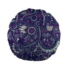 Purple Hippie Flowers Pattern, Zz0102, Standard 15  Premium Flano Round Cushion  by Zandiepants