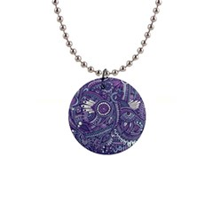 Purple Hippie Flowers Pattern, Zz0102, 1  Button Necklace by Zandiepants