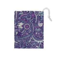Purple Hippie Flowers Pattern, Zz0102, Drawstring Pouch (medium) by Zandiepants