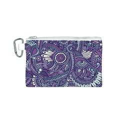 Purple Hippie Flowers Pattern, Zz0102, Canvas Cosmetic Bag (small) by Zandiepants