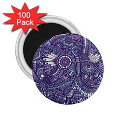 Purple Hippie Flowers Pattern, Zz0102, 2 25  Magnet (100 Pack)  by Zandiepants