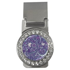 Purple Hippie Flowers Pattern, Zz0102, Money Clip (cz) by Zandiepants